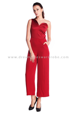 DT0909 Asymmetrical One Shoulder Culottes Jumpsuit - Red