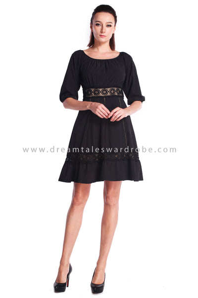 DT0910 Quarter Sleeves Fit & Flare Dress - Black