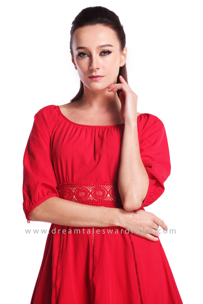DT0910 Quarter Sleeves Fit & Flare Dress - Red