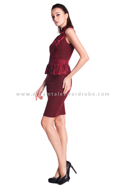 DT0911 Embossed Details Cheongsam Dress - Burgundy