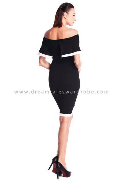 DT0912 Off Shoulder Pencil Dress - Black