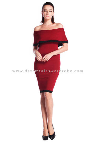 DT0912 Off Shoulder Pencil Dress - Maroon
