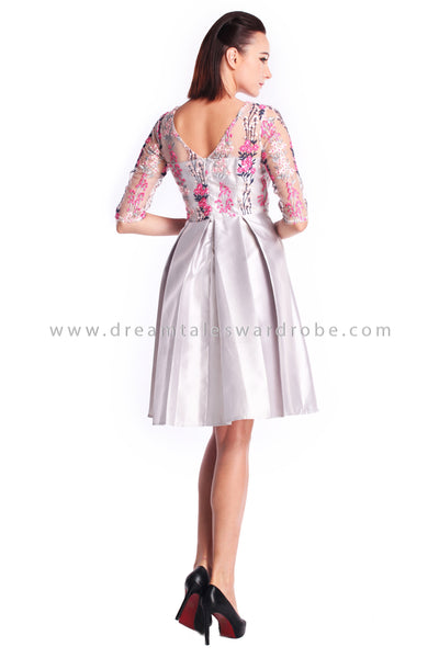 DT0913 Mesh Embroidered Prom Dress - Silver
