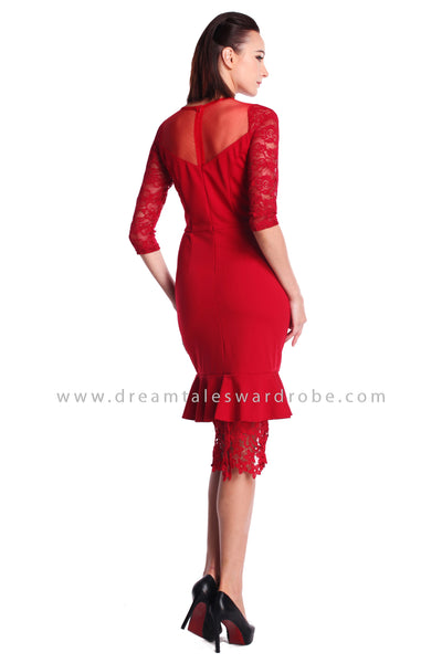 DT0914 Mesh Lace Blend Midi Dress - Red
