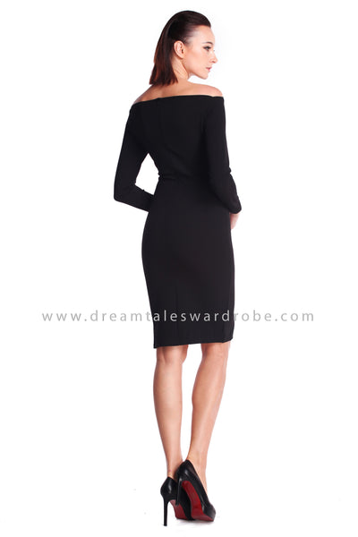DT0916 Boat Neck Pencil Dress - Black