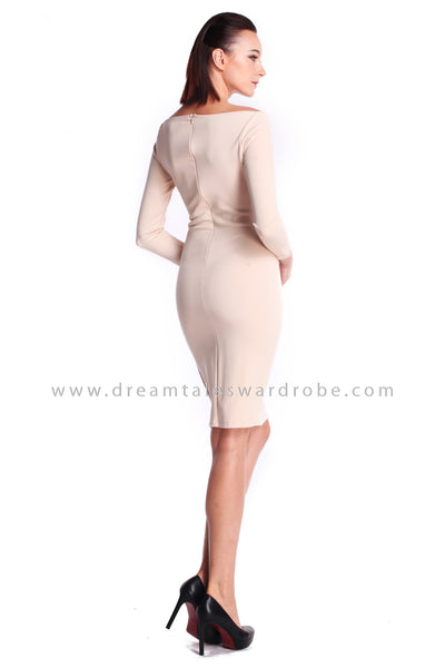 DT0916 Boat Neck Pencil Dress - Cream