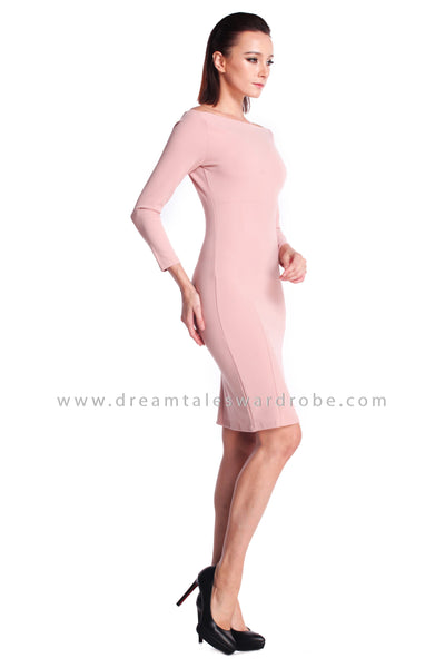 DT0916 Boat Neck Pencil Dress - Pastel Pink