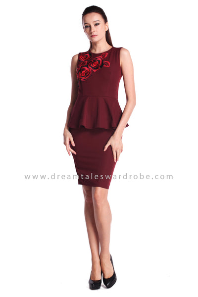 DT0918 Embroidered Peplum Dress - Maroon