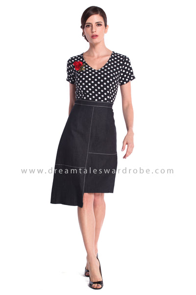 DT0923 Polka Dot Asymmetrical Hem A Line Dress - Black