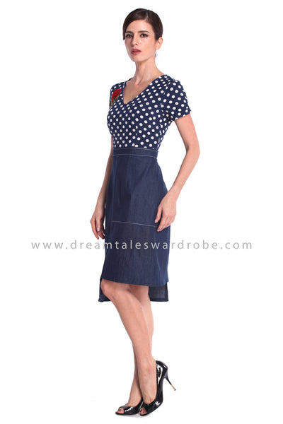 DT0923 Polka Dot Asymmetrical Hem A Line Dress - Blue