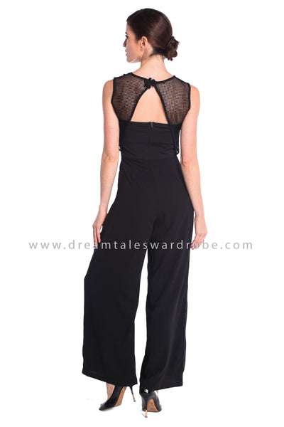 DT0924 Floral Applique Culottes Jumpsuit - Black