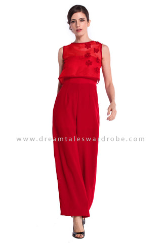 DT0924 Floral Applique Culottes Jumpsuit - Red