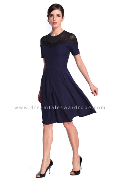 DT0926 Mesh Lace Trim Details Fit & Flare Dress - Blue
