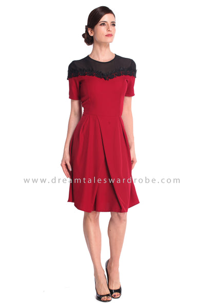 DT0926 Mesh Lace Trim Details Fit & Flare Dress - Maroon