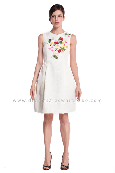 DT0927 Sleeveless Embroidered Fit & Flare Dress - White
