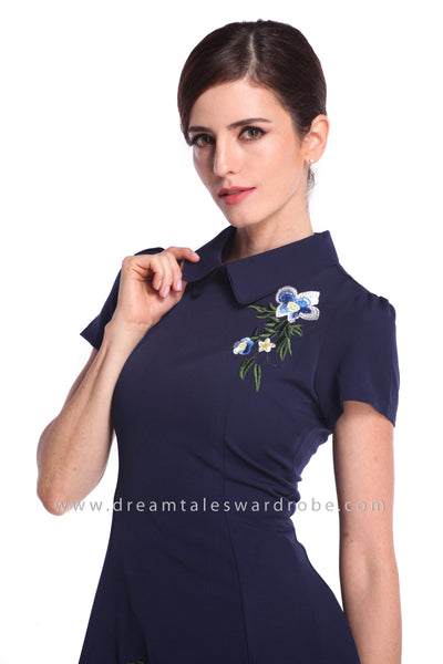 DT0928 Collar Embroidered A Line Dress - Blue