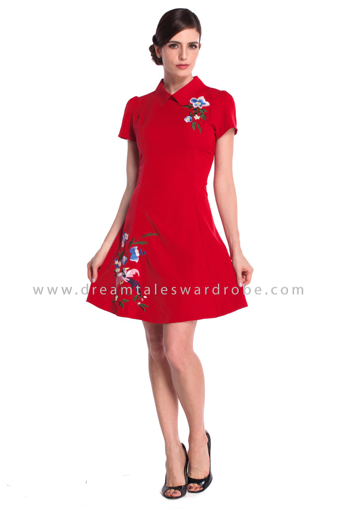 DT0928 Collar Embroidered A Line Dress - Red
