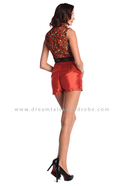 DT0931 Lace Cheongsam Playsuit - Orange