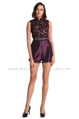 DT0931 Lace Cheongsam Playsuit - Purple