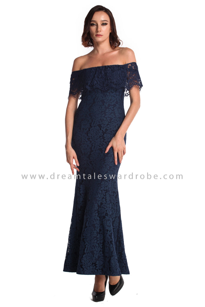 DT0934 Bardot Lace Ruffles Evening Dress - Blue