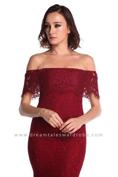 DT0934 Bardot Lace Ruffles Evening Dress - Maroon