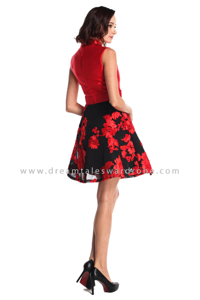 DT0935 Contrast Floral Cheongsam Dress - Red