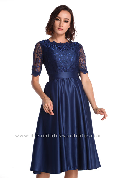 DT0936 Lace Midi Dress - Blue