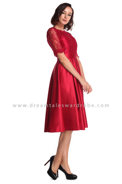 DT0936 Lace Midi Dress - Red