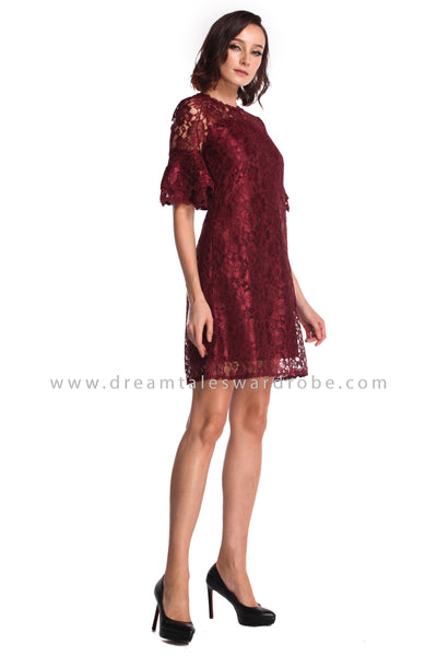 DT0937 Lace Fluted Sleeves Flare Dress - Burgundy