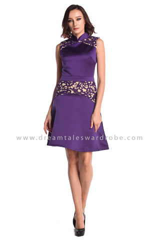 DT0938 Crochet Lace Blend Cheongsam Dress - Purple