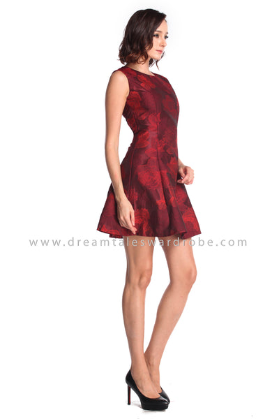 DT0940 Textured Floral Fit & Flare Dress - Maroon