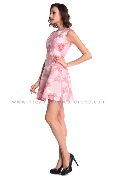 DT0940 Textured Floral Fit & Flare Dress - Pink