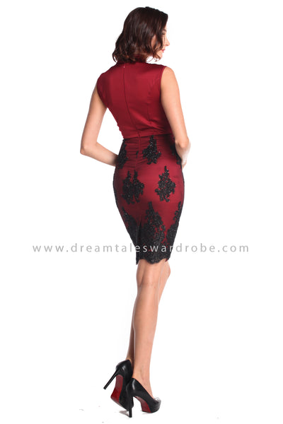 DT0941 Mesh Lace Blend Cheongsam Dress - Maroon