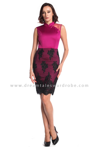 DT0941 Mesh Lace Blend Cheongsam Dress - Purple