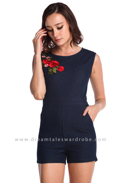 DT0942 Floral Applique Jeans Playsuit  - Dark Blue