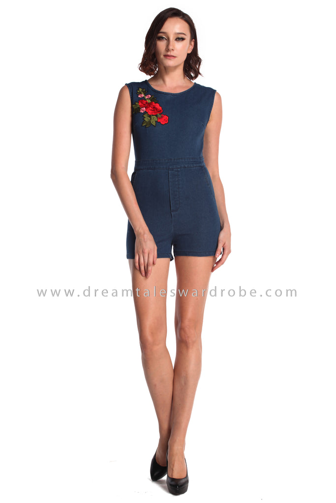 DT0942 Floral Applique Jeans Playsuit  - Medium Blue