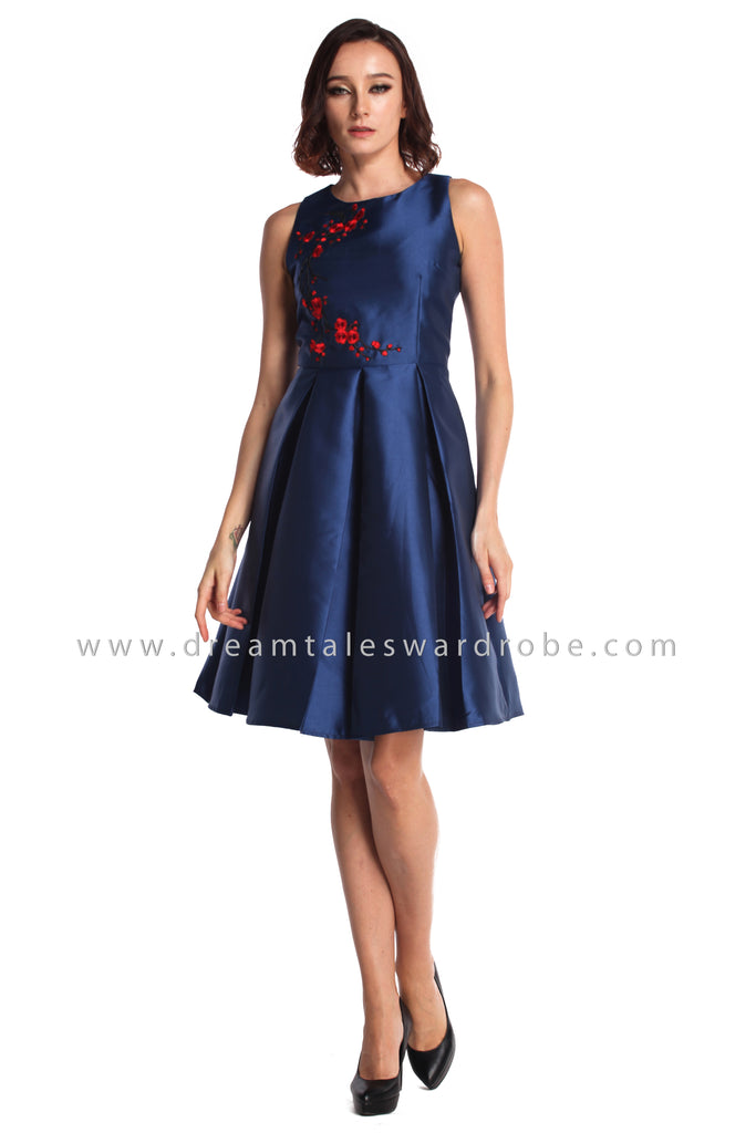 DT0943 Sleeveless Floral Embroidered Fit & Flare Dress - Blue