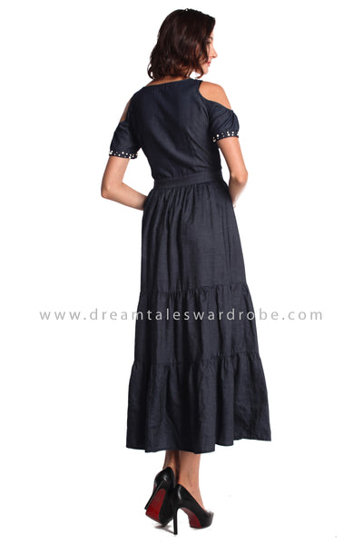 DT0944 Cold Shoulder Long Dress - Blue