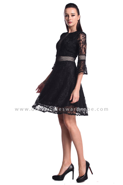 DT0945 Quarter Sleeves Lace Dress - Black