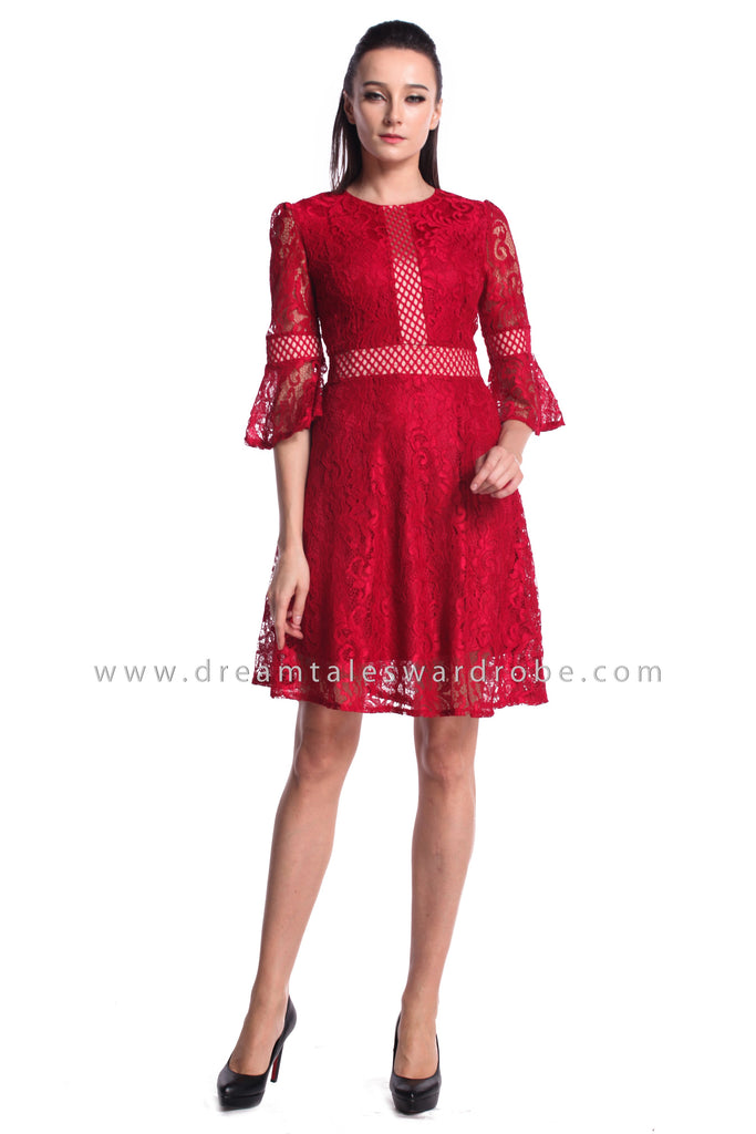 DT0945 Quarter Sleeves Lace Dress - Red