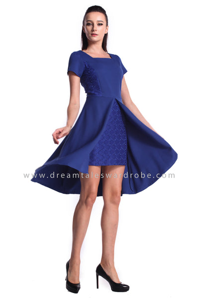 DT0946 Square Neck Overlap Dress - Blue