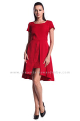 DT0946 Square Neck Overlap Dress - Red