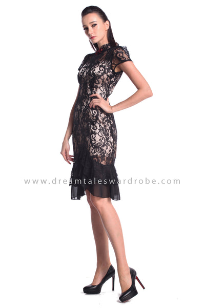 DT0947 Ruffles Hem Cheongsam Dress  - Black