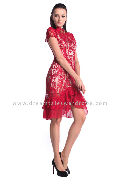 DT0947 Ruffles Hem Cheongsam Dress  - Red