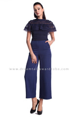 DT0948 Cape Lace Culottes Jumpsuit  - Blue