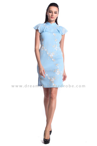 DT0949 Floral Embroidered High Neck Cheongsam Dress - Powder Blue