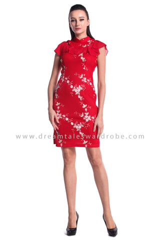 DT0949 Floral Embroidered High Neck Cheongsam Dress - Red