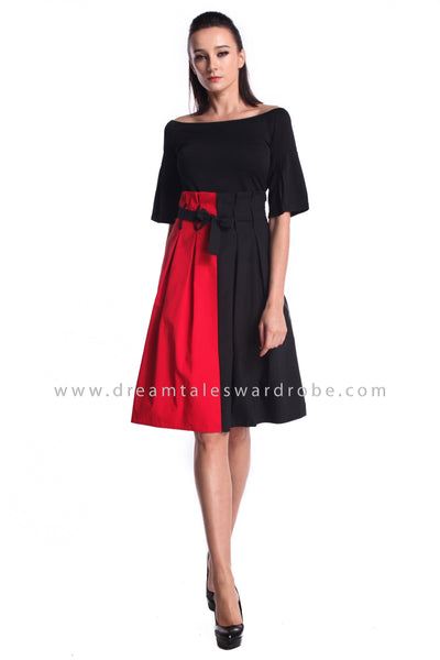 DT0950 Half Sleeves Pleated Midi Dress  - Red