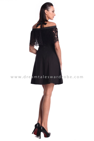 DT0951 Off Shoulder Halter Dress - Black