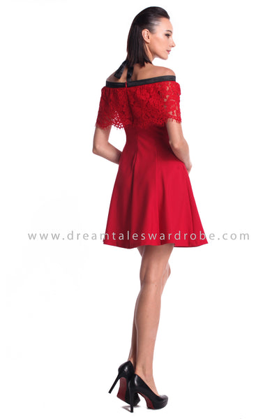 DT0951 Off Shoulder Halter Dress - Red
